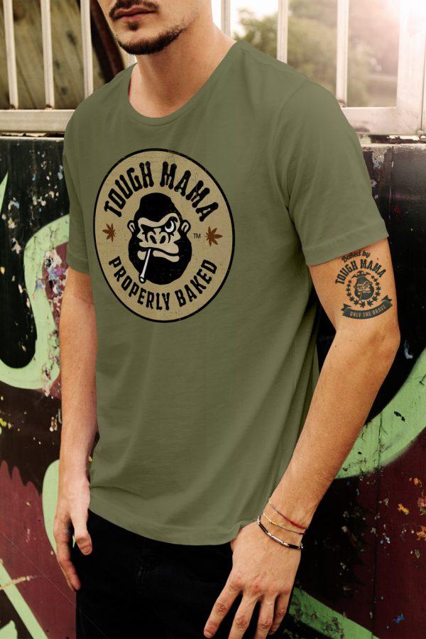 Tough Mama 'Properly Baked' army green t-shirt