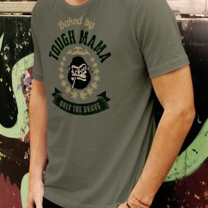 Tough Mama 'Only The Brave' grey-green t-shirt